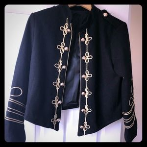 Jackets & Blazers - Black blazer with gold embroidery